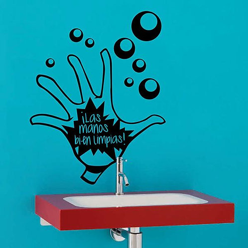 Vinilo para el baño las manos bien limpias