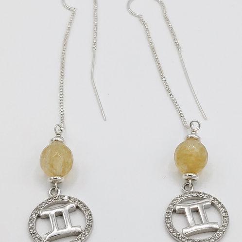 Silver Threader Zodiac Earrings