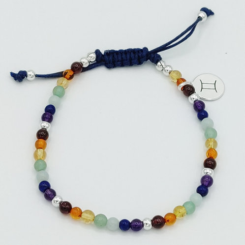 Rainbow Gemstone Waxed Cotton Zodiac Bracelet