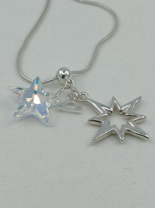 Silver & Swarovski Crystal Star Zodiac Necklace