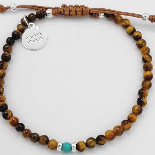 Aquarius Waxed Cotton Zodiac Bracelet (21/1-20/2)
