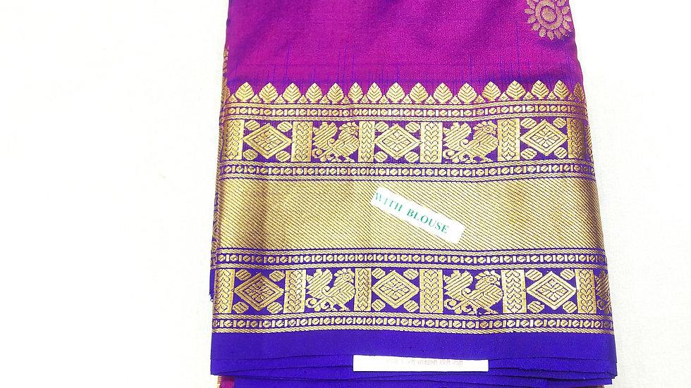 Pure Silk Saree Magenta Color
