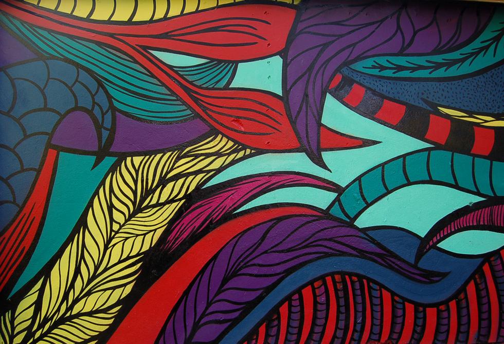 Mural  spraycans, ink  2018