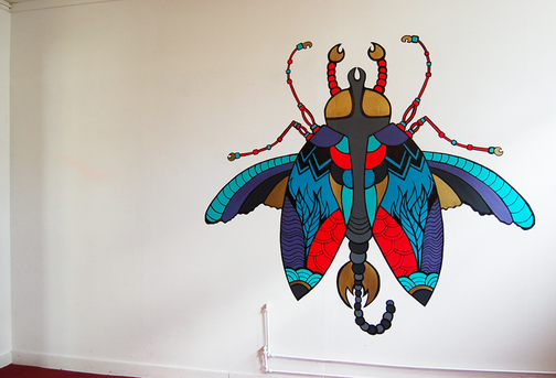 Bzz Bzz Bzz on the wall  paint, markers  2014
