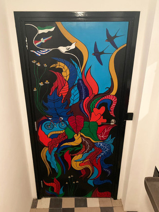 Painted door  commisioned to paint a bathroom door with subjects and things in it they love  acrylic paint, ink  2019