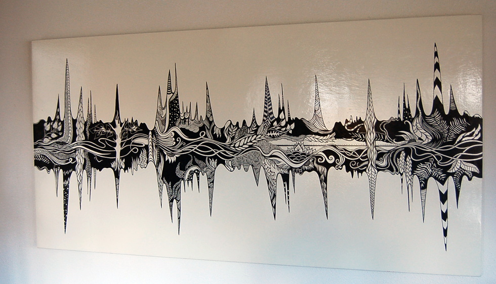 Soundwaves 1.0  self initiated for an exhibition in Simplon   paint, acrylic markers  2015