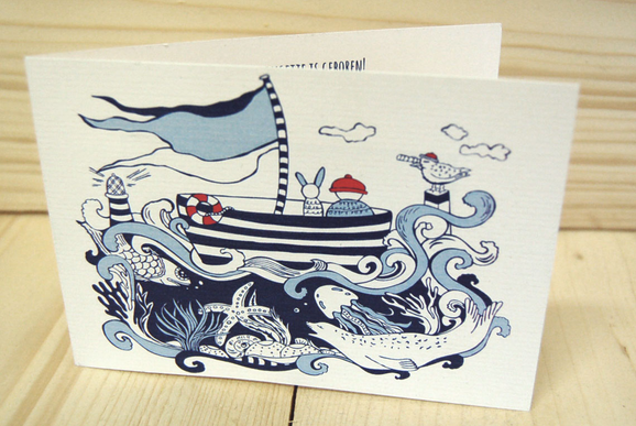 Birth announcement card made for Lenn.  The parents asked for a navy themed card with a dutch twist in it, because they were imigrating back to Holland.