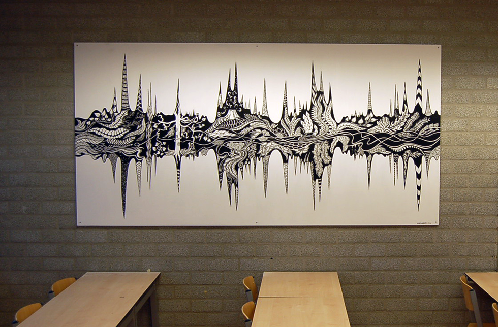 Soundwaves 2.0  made this painting in commission by Drenthe College for a classroom  paint, acrylic markers  Assen, 2016
