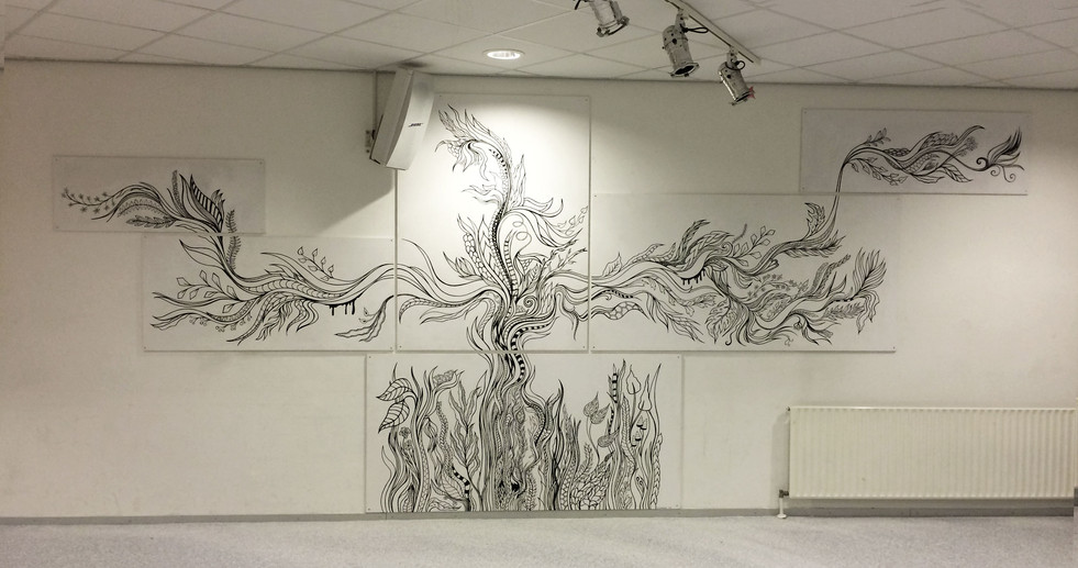 Colouring wall  drawing on panels in a classroom for Drenthe College, students coloured it  acrylic markers  Assen, 2016