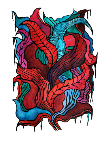 Autumn,  paper, ink, ecoline & watercolour