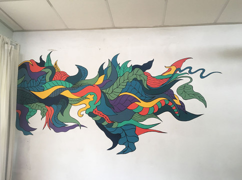 Painted mural  paint, acrylics, ink  Glimmen, 2019