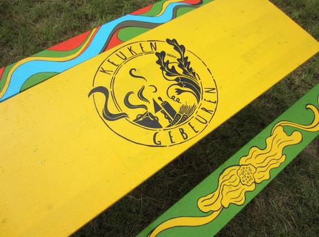 Keukengebeuren  painted tables & seats for keukengebeuren  paint  2014