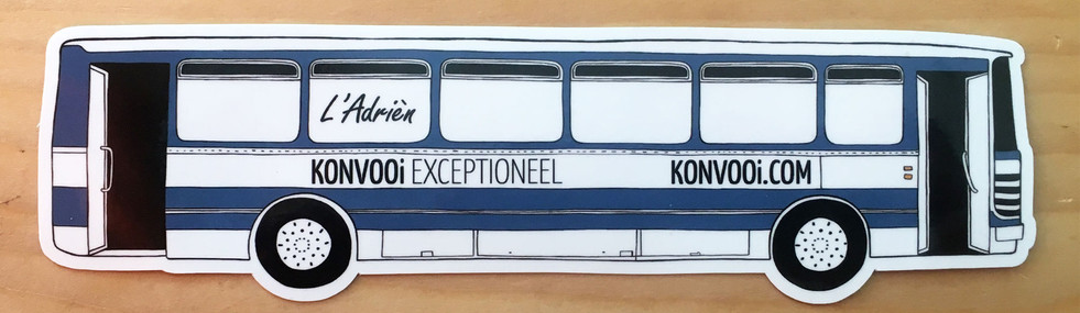 Konvooi Exceptioneel  Drawing made of l'Adrièn, a rental van of Konvooi. Used for stickers as promotion.