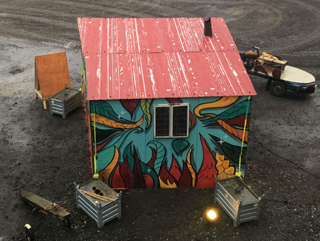 Hot Spot  Painted mobile waiting house, wich has a heater bank inside to keep people warm for @Kunsteboer  paint, spraycans, ink  photo: @Suikerunie terrein during Eurosonic Noorderslag.  2019