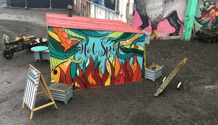 Hot Spot  Painted mobile waiting house, wich has a heater bank inside to keep people warm for @Kunsteboer  paint, spraycans, ink  photo: @Suikerunie terrein during Eurosonic Noorderslag  2019