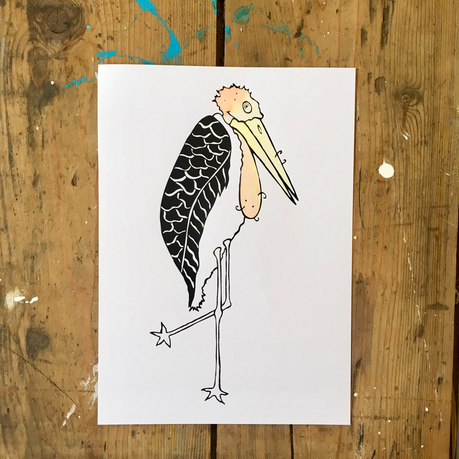 Birth announcement card for Kees.  The marabou i drew is a nephew of the Stork and is  is a warm childhood memory of the mother.  The card is screenprinted and coloured in by hand with ecoline, so each card is a little bit different.