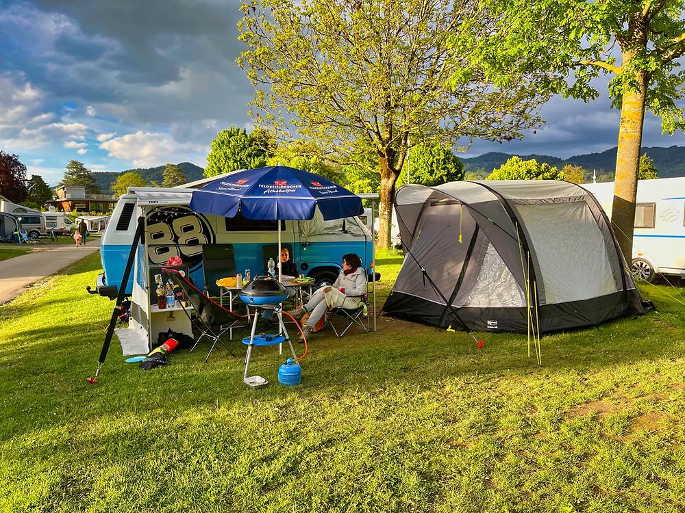 Unser Platz auf dem TCs Camping in Gwatt.