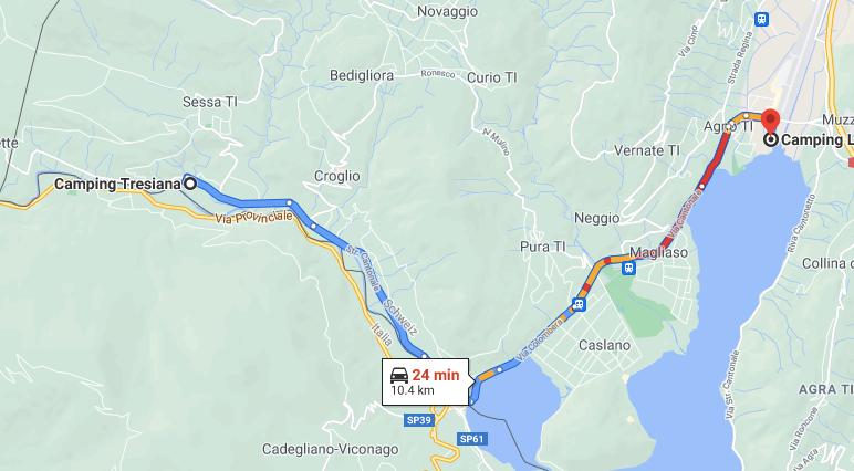 Route vom Camping Tresiana zum Camping Lugano Lake.