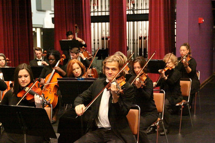 ASO Second Violins and Cellos Play During Rehearsal