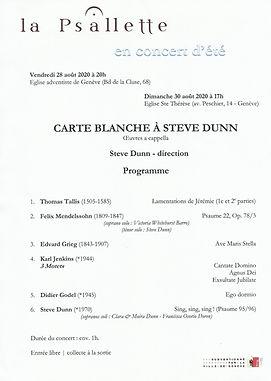 La Psallette, Concert Steve Dunn