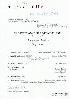La Psallette de Genève, Carte Blanche à Steve Dunn