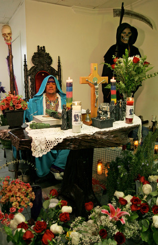 Originally from Nayarit, Mexico, Sysiphus became a follower of Santa Muerte after exploring several different religious paths, including traditional shamanism. He knew La Santissima was his calling after she appeared to him several times in his dreams. He and his wife now run the Templo Santa Muerte in East Hollywood, which is open for evening services after Sysiphus returns from his day job at a medical clinic.