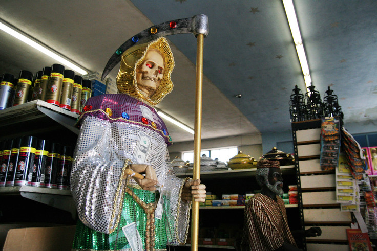 A large store on Slauson Avenue in South Los Angeles sells supplies for various syncretic religions.