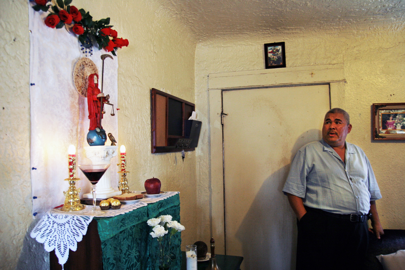 A regular at the Shaman's Santa Muerte temple, Reuben was inspired to set up his own personal shrine to La Santisima in his South LA home.