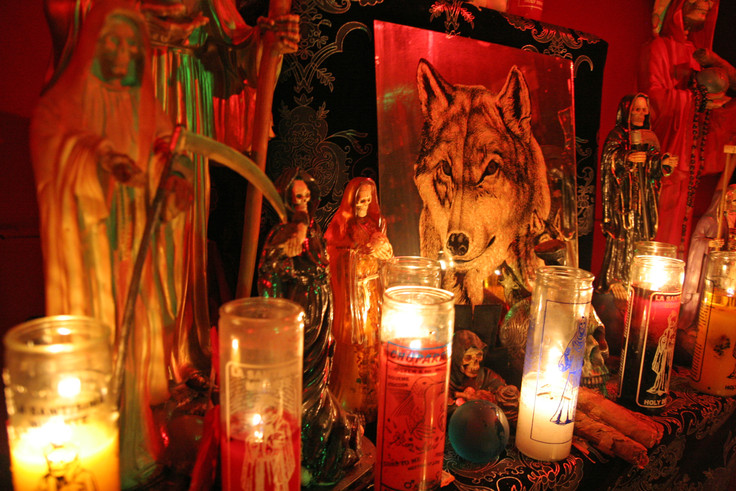 In many indigenous cultures, the coyote is believed to be a trickster spirit with powers of hypnosis. He bestows great importance on the coyote by placing it's image in the center of his altar upstairs.