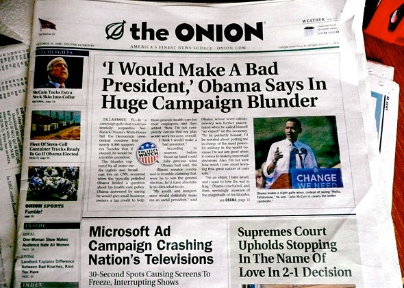 """Onion stops publishing satire, claiming, """"We've done more harm than good."""""""