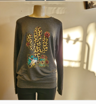 Charcoal Animal Print Cactus Sweatshirt