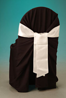 Black chaircover with white satin