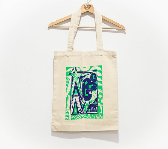 "Glow ""Green and Blue"" Tote Bag"