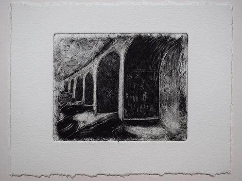 Viaduct: an inbetween place. Original mezzotint. 20 x 16cm.