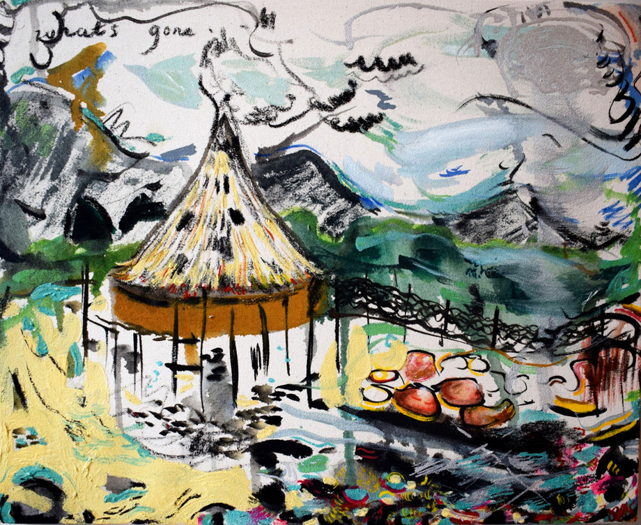 Crannog: What's Gone. Waterbased oil, clear gesso, charcoal and acrylic ink on stretched canvas. 50 x 41cm. 2021.