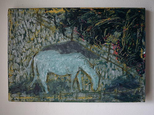Field Day. Oil-pastel, oil-paint, acrylic, emulsion, gesso, canvas. 30 x 20 cm.