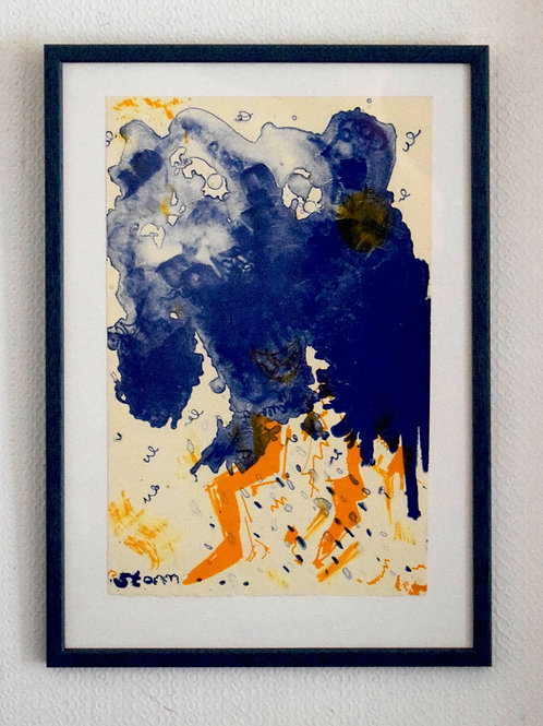 Storm.  Framed stone lithograph.  32 x 45.3 x 1.2cm.