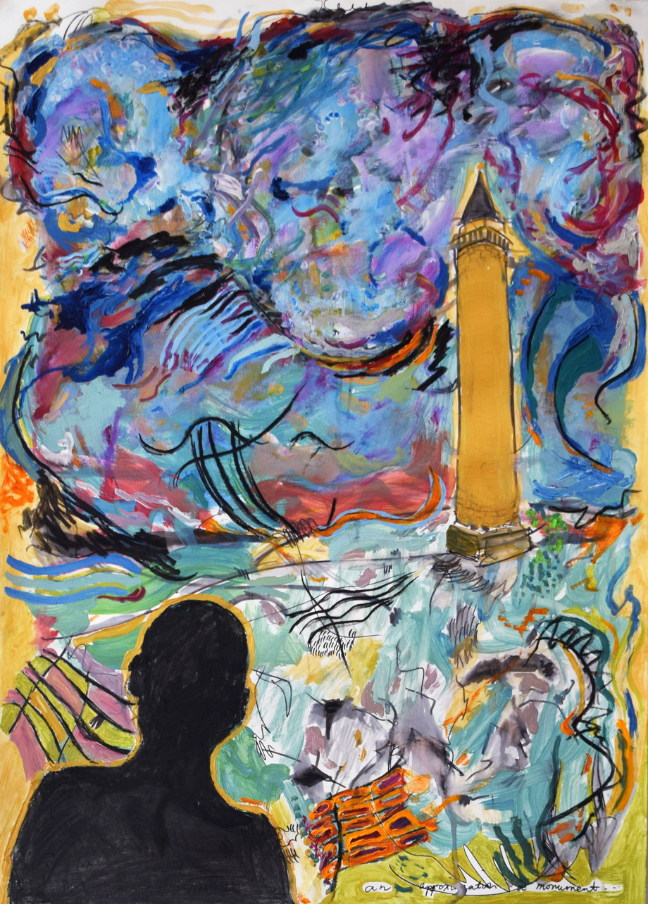 Monument. Water-based oil, acrylic paint, charcoal, watercolour pen and acrylic ink on paper. 56 x 76cm. 2020.