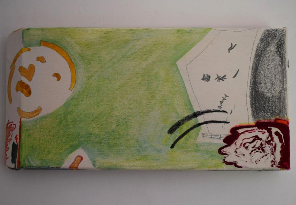 Edges. Emulsion, watercolour, acrylic, oil-paint, oil-pastel, an