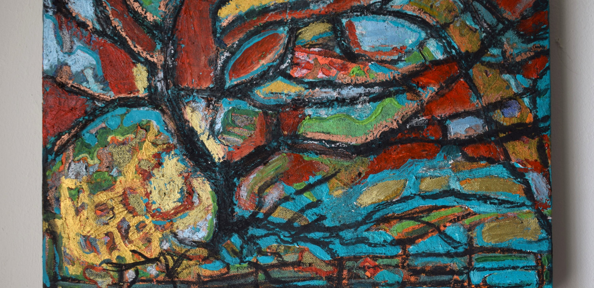 Strange Tree. Oil pastel, oil paint, acrylic, gesso and charcoal on stretched canvas. 30 x 20cm. Private collection.