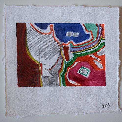 Shapes. Watercolour and graphite on khadi rag. 11.3 x 10.7cm. 2020.