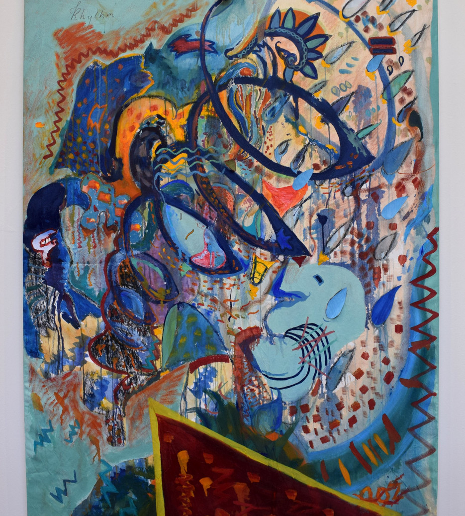 Wave Rhythm. Oil, acrylic, acetate, mobile phone holder, magazine, lithograph and marker pen on canvas. 112 x 163cm. 2019. Private Collection.