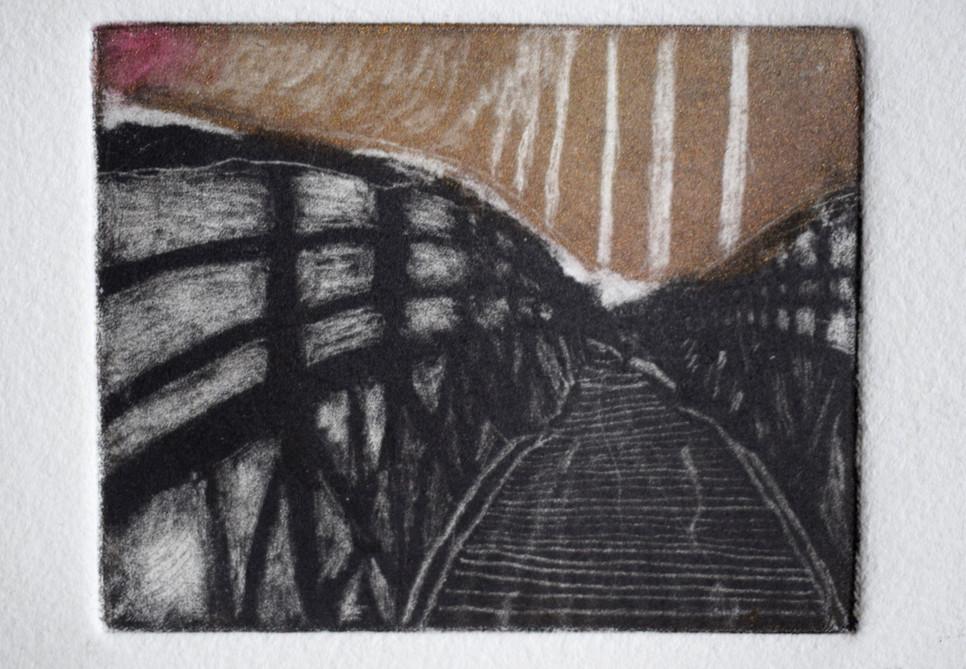 Bridge. Mezzotint. 12.5 x 15.5cm. 2020. Private Collection.