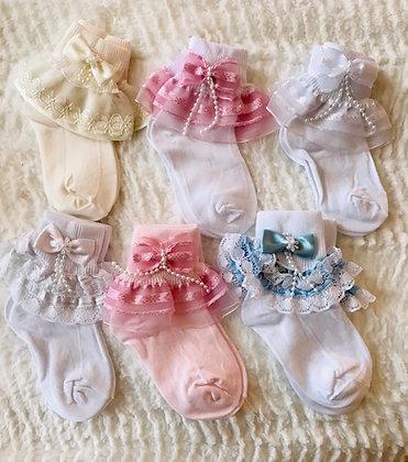 Girl Dress Socks With Pearls