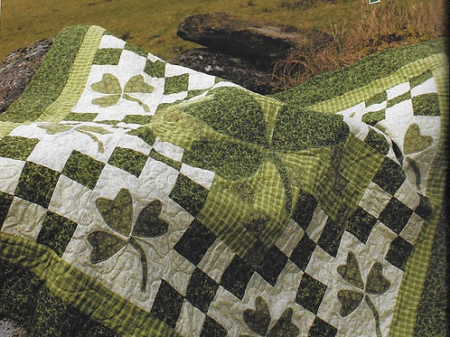 """Luck O' The Irish Quilt Pattern PDF  Size 48"""" Square, Clover Quilt"""