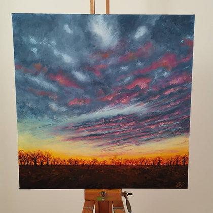 Suffolk Red Sky by Lisa Rae Art
