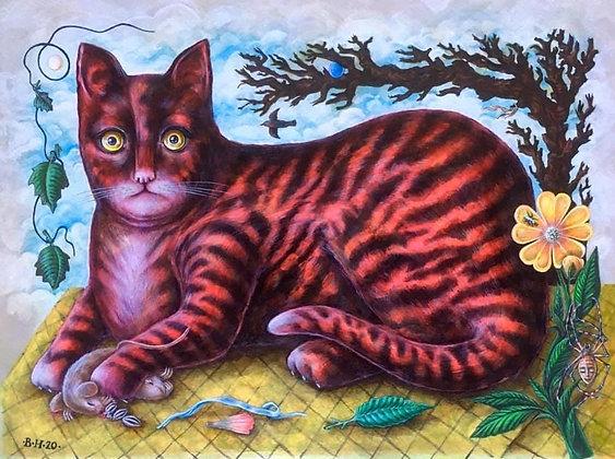 Red & Black Cat by Bev Howe
