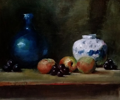 Still Life with White Vase and Oranges by Mirka McNeill