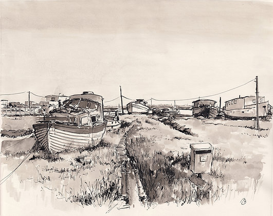 Houseboats at Mersea by Peter Porteous-Butler