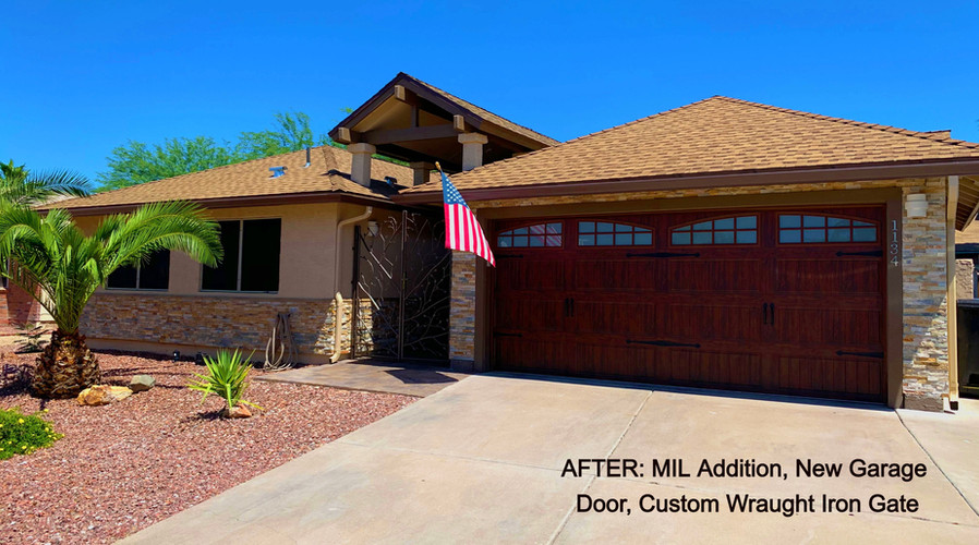 We created a separate entrance to the MIL quarters, along with a kitchenette addition in the room to create a private area for independence while still being connected to the rest of the home. We installed a new garage door, laid concrete pavers along the new entryway, extended the grand portico entry, and installed a jaw-dropping intricate wraught iron gate.